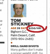 Tom Stickney Instruction Rate
